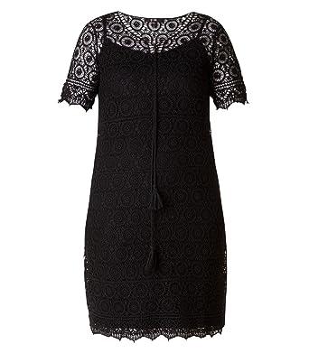 100836b38e23de Yest by x-two Spitzenkleid Damen große Größen knielang kurzarm Damenkleid  Spitze Kleid Stretch Sommerkleid