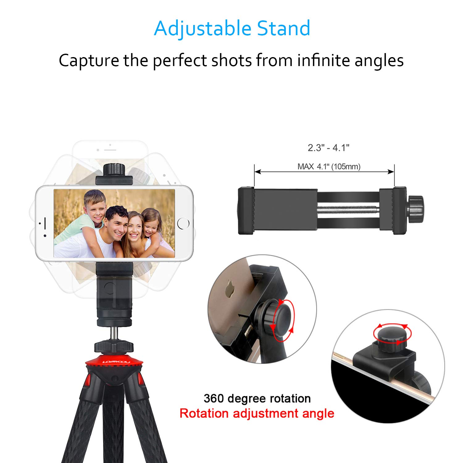 Flexible Camera Tripod Vlogging Bendable Travel Octopus Gorilla Portable Mini Tripods for DSLR Camera GoPro Smartphone Cell Phone Actioncam Webcam Camcorder Canon GX7 Nikon Sony Phone Xs Samsung Stand by Lammcou (Image #3)