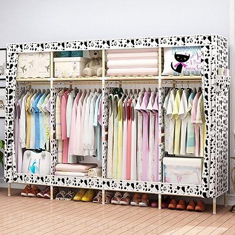 HHAiNi Huge 82u0026quot; Portable Wooden Closet Storage Organizer Wardrobe Clothes Rack With Shelves 4  sc 1 st  Amazon.com & Amazon.com: HHAiNi Huge 82