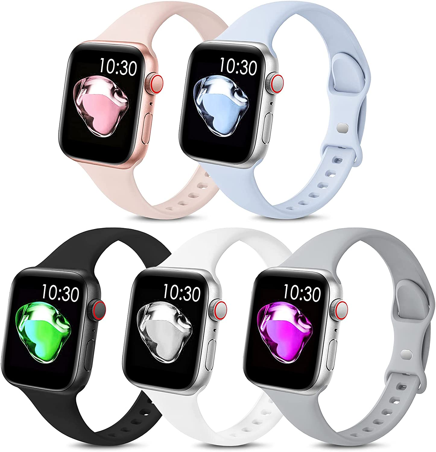 5 Pack Sport Slim Bands Compatible with Apple Watch Bands 38mm 40mm 42mm 44mm Women Men,Thin Silicone Soft Replacement Strap Wristband for iWatch Series 6 5 4 3 2 1 SE(38MM/40MM,Color6)