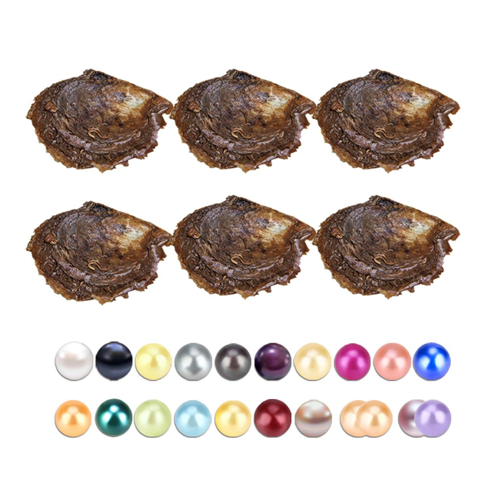 30PCS of Mix 20 Colors Single and Twins Individual Package 6-8mm Saltwater Round Akoya Pearl Oyster by NY Jewelry (Image #1)