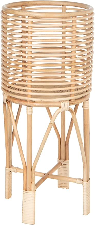 KOUBOO Rattan Indoor Two-Tier Plant Stand Large Brown Natural Planter