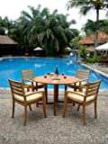 """New 5 Pc Luxurious Grade-A Teak Dining Set - 48"""" Round Butterfly Table and 4 Travota Stacking Arm Chairs #WHDSTV1"""