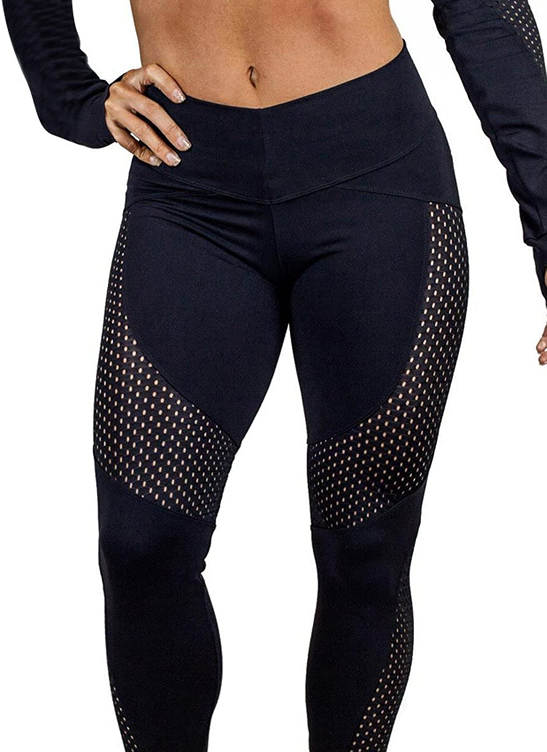 Funy Decor High Waisted Workout Leggings Athletic Gym Running Workout Fitness Yoga Capris Pants