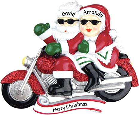 Personalized Motorcycle Mr Mrs Claus Christmas Tree Ornament 2020 Cool Santa Couple Sunglass Chopper Sport Bike Cycling Profession Hobby Activity Bicyclist Gift Year Free Customization Kitchen Dining