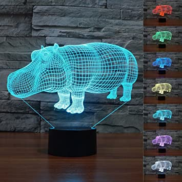 Amazon Com Superniudb 3d Hippo Night Light Led Usb 7 Color Change