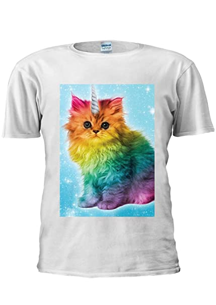 1d76976fa5879 Unicorn Rainbow Cat Kitten Funny Unisex T Shirt Top Men Women Ladies   Amazon.co.uk  Clothing