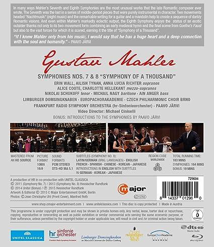 Amazon com: Mahler: Symphonies Nos  7 & 8 [Blu-ray]: Frankfurt Radio