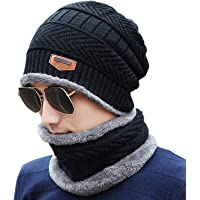 HIVER Handcuffs 2-Pieces Winter Beanie Cap Scarf Set Warm Knit Cap Thick Fleece Lined Winter Hat & Scarf for Men Women Black