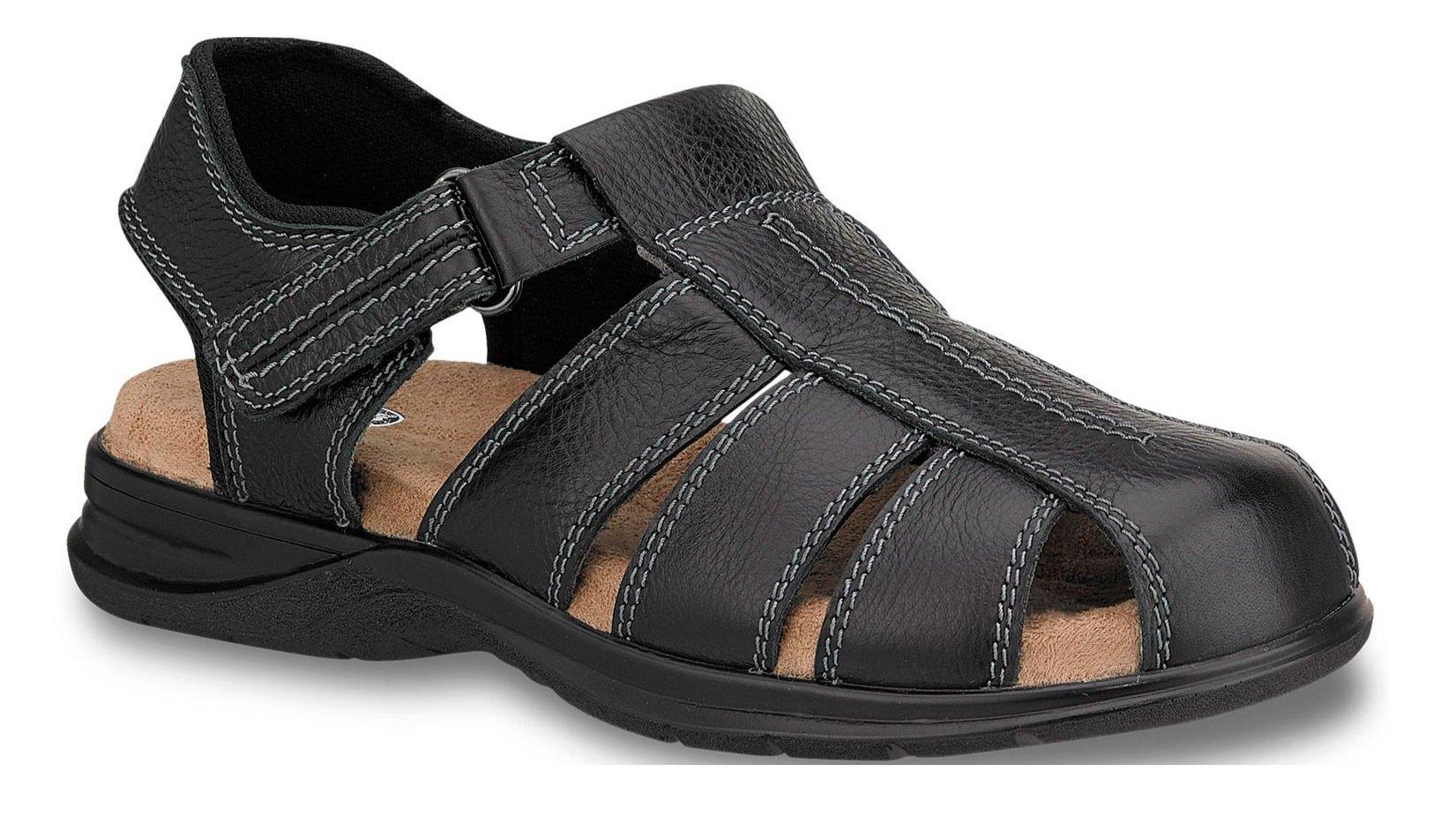 Men T-Bar Close Sandal Black Genuine Leather Imported (8.5)