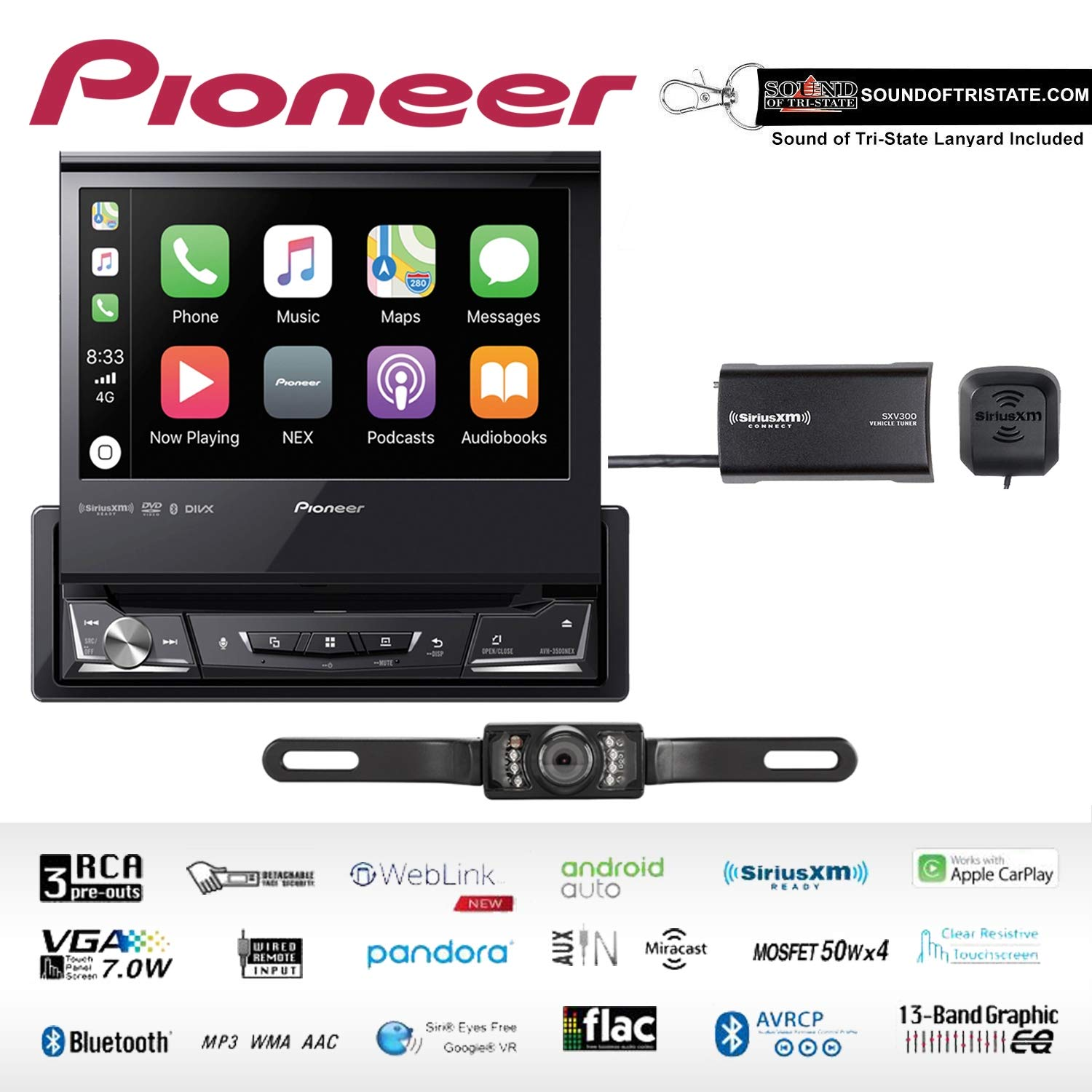 """Pioneer AVH-3500NEX Single Din Multimedia Player with 7"""" flip Out Screen with License Plate Stye Backup Camera & SiriusXM Satellite Radio Tuner Bundle with Sound of Tri-State Lanyard"""