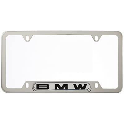 BMW License Plate Frame w Logo Polished Stainless Steel: Automotive