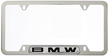 bmw license plate frame wbmw logo polished stainless steel - White License Plate Frame