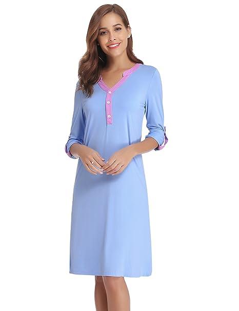 Hawiton Camison Mujer Algodon Pijama Mujer Verano Manga Larga Verano Invierno Otoño