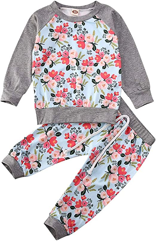 Toddler Baby Girls Floral Tops T-Shirt Long Pants Headband Outfits Clothes Set