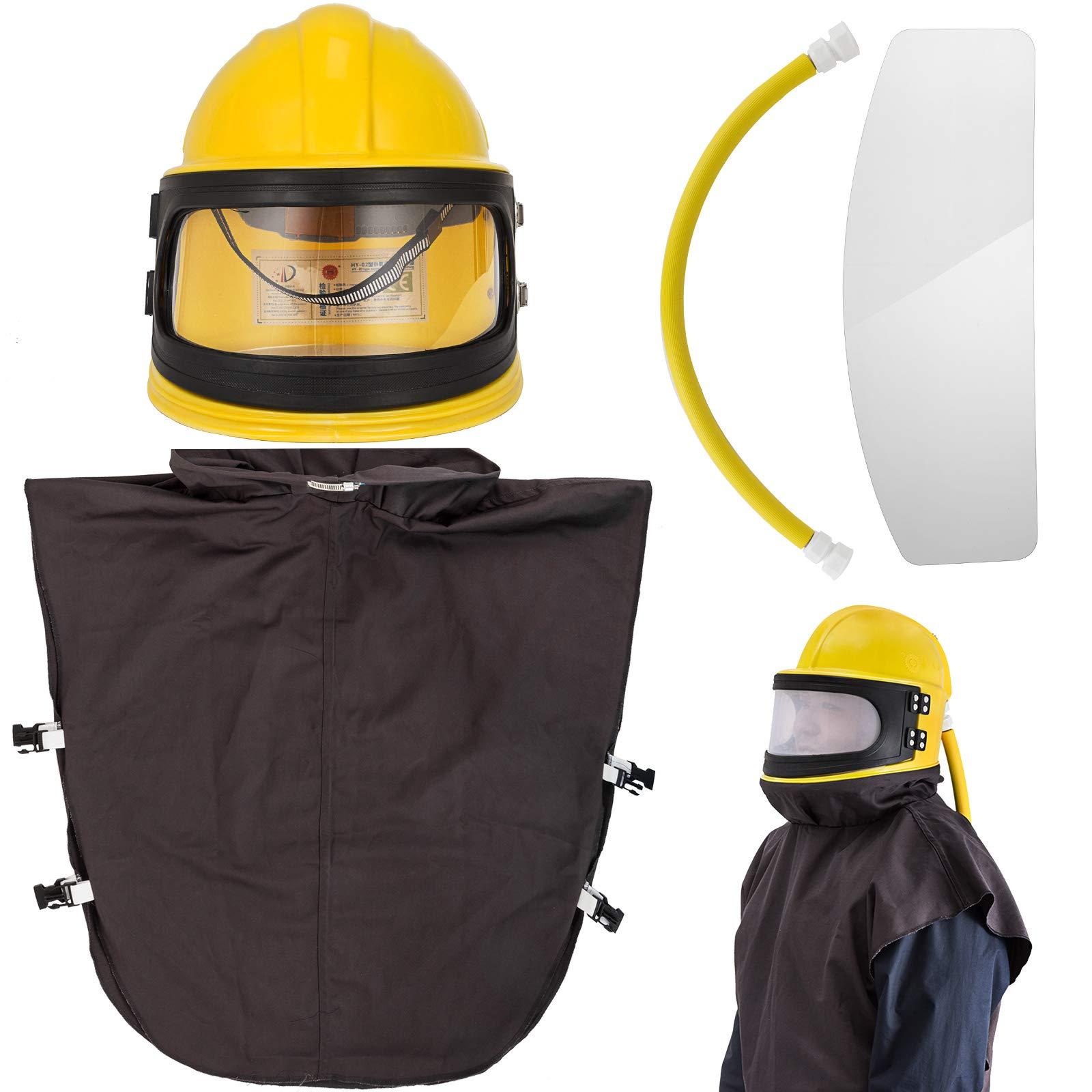 BestEquip Air Supplied Safety Sandblast Helmet Sandblasting Hood Protector ABS Helmet Sandblasting(Red Or Yellow Send Randomly) by BestEquip