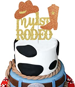 My 1st Rodeo Cake Topper, Gold Glitter Western Themed Cake Decor,Baby Shower Cowboy/Cowgirl First Birthday Party Decoration