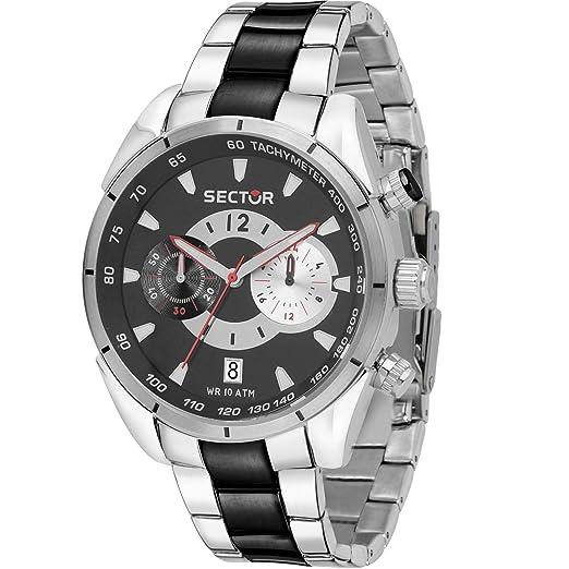 Reloj Sector 330 cronógrafo Hombre Acero Negro r3273794011: Amazon.es: Relojes