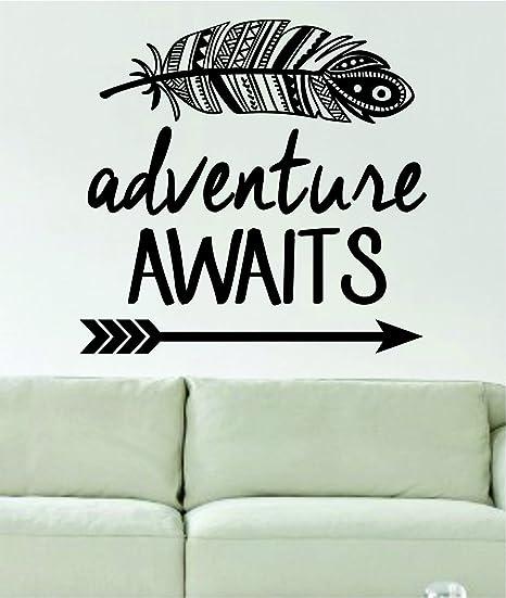 Adventure Awaits Feather And Arrow Design Decal Sticker Wall Vinyl Art Words Decor Home Kitchen