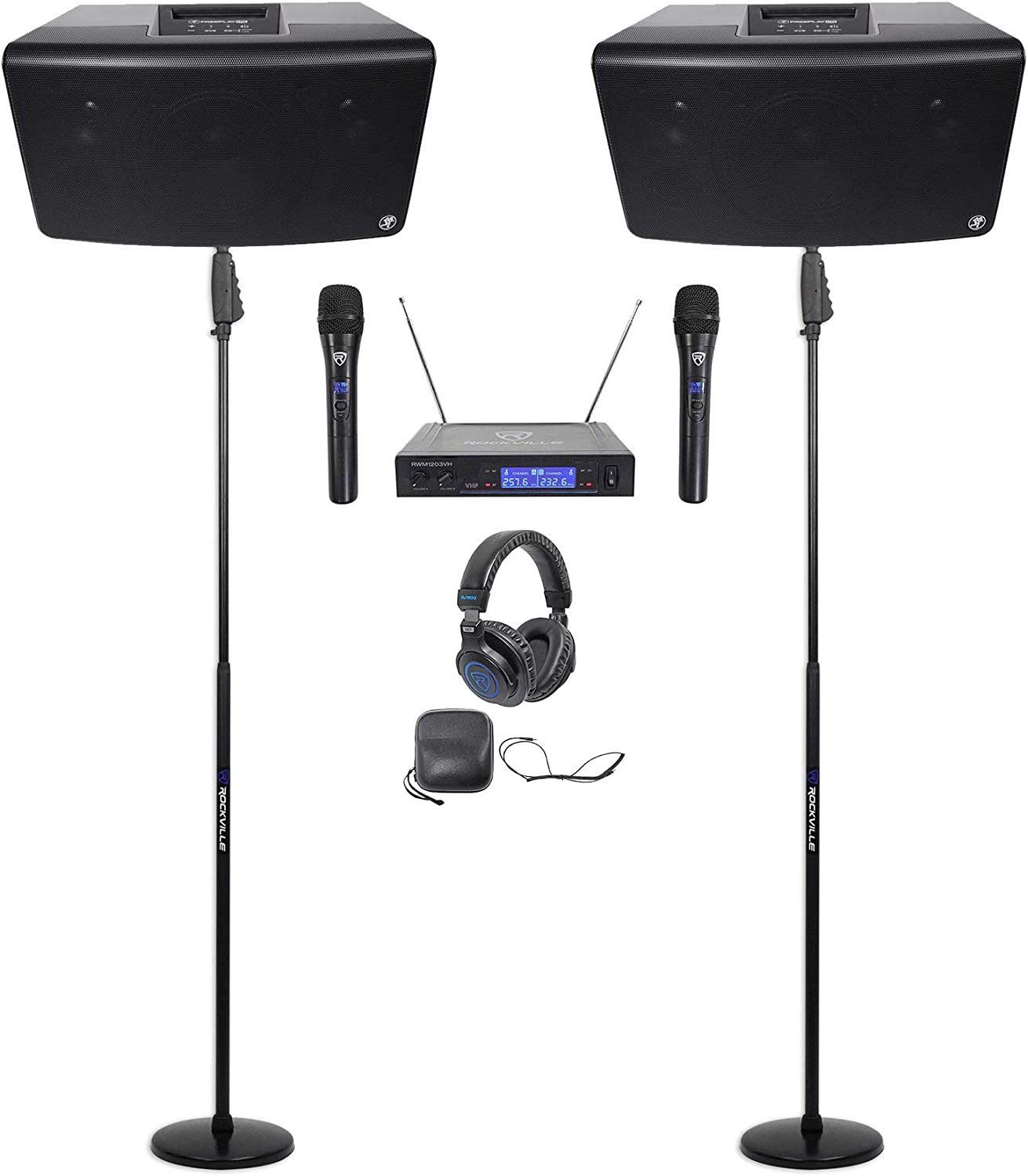 "2 Mackie FreePlay LIVE Rechargeable 6"" Bluetooth Speakers+Stands+Mics+Headphones 71dw36byazLSL1500_"