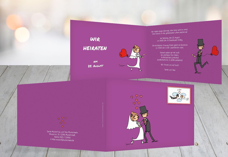 Wedding Invitation Comic Bride And Groom Purple 50 Karten Amazon