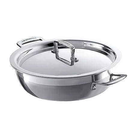 Le Creuset 3-Ply Cacerola baja con tapa, Ø 30 cm, acero inoxidable, para todo tipo de fuentes de calor (incl. inducción) y horno, metálico