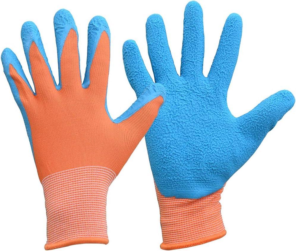 Kids Gardening Gloves for Age 3-13, Children Garden Gloves with Rubber Coated Palm, Landscaping &Yard Work Gloves for Boys Girls (Size 5, Orange/Blue)