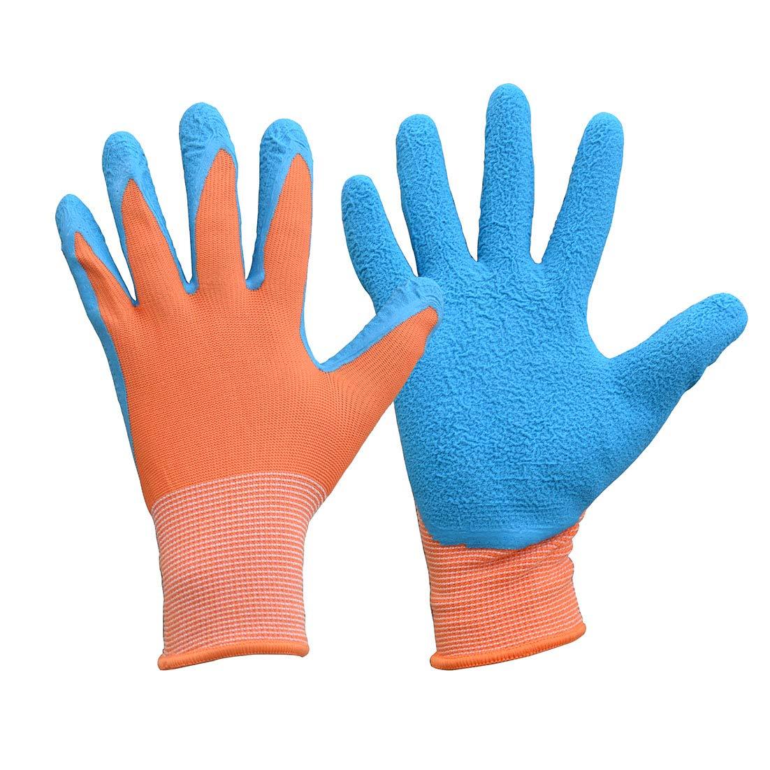 Guantes de trabajo de protecció n de lá tex para jardinerí a de niñ os, Size 2, naranja/azul, 1 Euglove