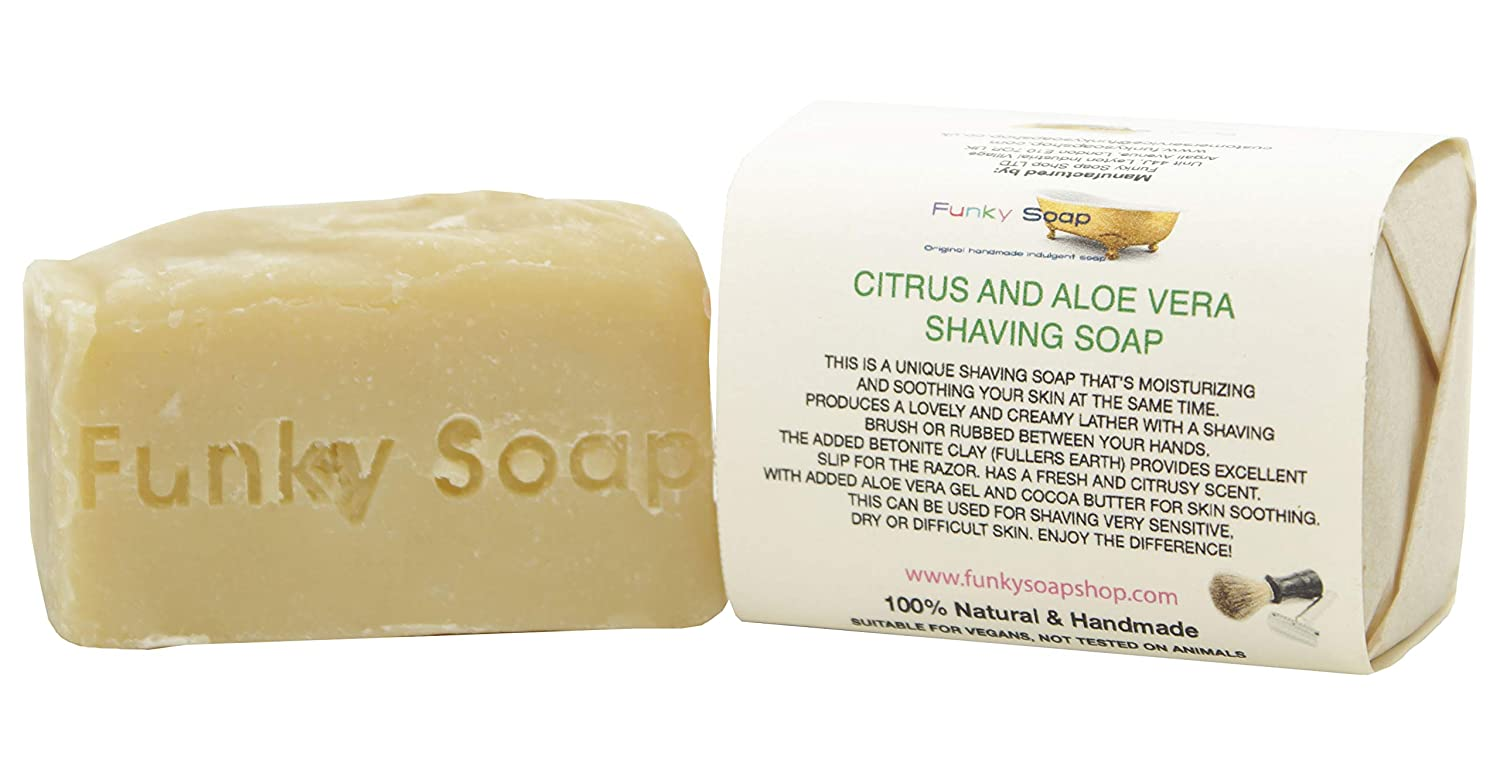 1 piece Citrus & Aloe Vera Shaving Soap Bar 100% Natural Handmade aprox.120g Funky Soap
