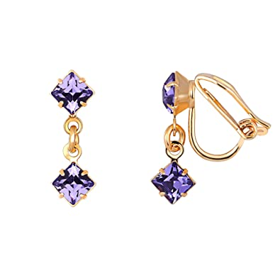 a62e300d00027c Tanzanite Swarovski Crystal Clip-on Square Drop Earrings - Women's Gold  Plated Earrings Made From Purple Swarovski Crystals - Presented in a Luxury  Giftbox: ...