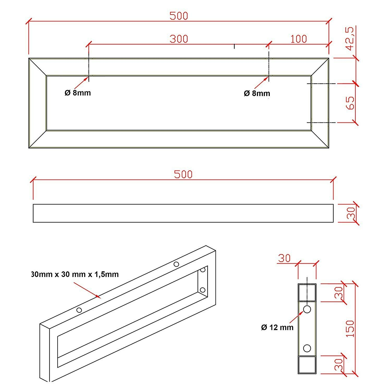 Waschtischhalterung 1 St/ück Handtuchhalter Konsolenhalterung Regalhalterung 450mm 500mm Chrom 500mm Burgtal Wandhalterung