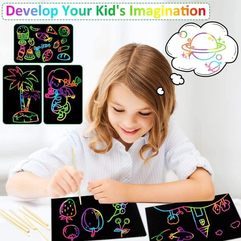 Dessins avec 5 Stylos en Bambou TOKERD 100 Feuilles Carte a Gratter Enfant Adulte Papier /à Gratter Gratter Papier Couleur Gratter Bloc-Notes pour /Écriture 5 Gabarit Taille-Crayon et Brosse