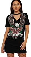 Longwu Women Deep-V Eagle Printing Halter Sexy T-Shirt Blouses Dress Casual Loose