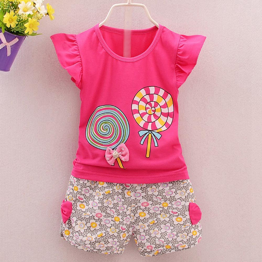 Dinlong Baby Girl Cotton Sleeveless Floral Printed Party Dress Outfits Clothes 2-3 Years, Pink