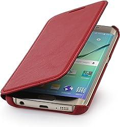 StilGut Housse pour Samsung Galaxy S6 Edge en Cuir véritable à Ouverture latérale, Rouge Nappa
