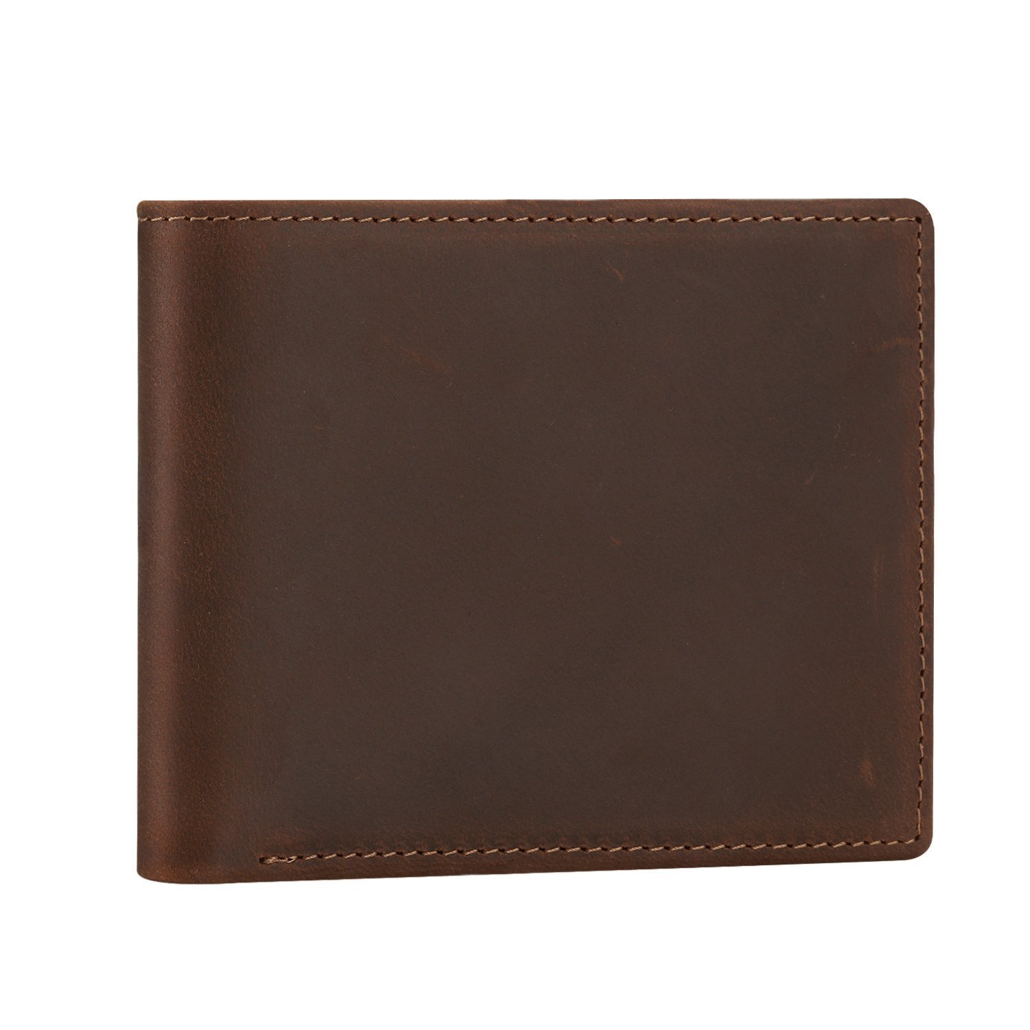 Men\'s Long Trifold Wallet with Zipper Genuine Leather Money Bag Card Case (coffee)