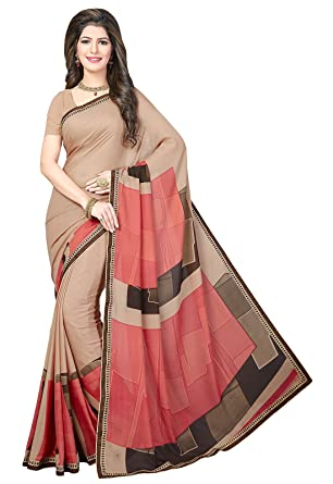 c33abcfc11fe8 Ishin Poly Georgette Beige Printed Women s Sari Saree With Lace  Amazon.in   Clothing   Accessories