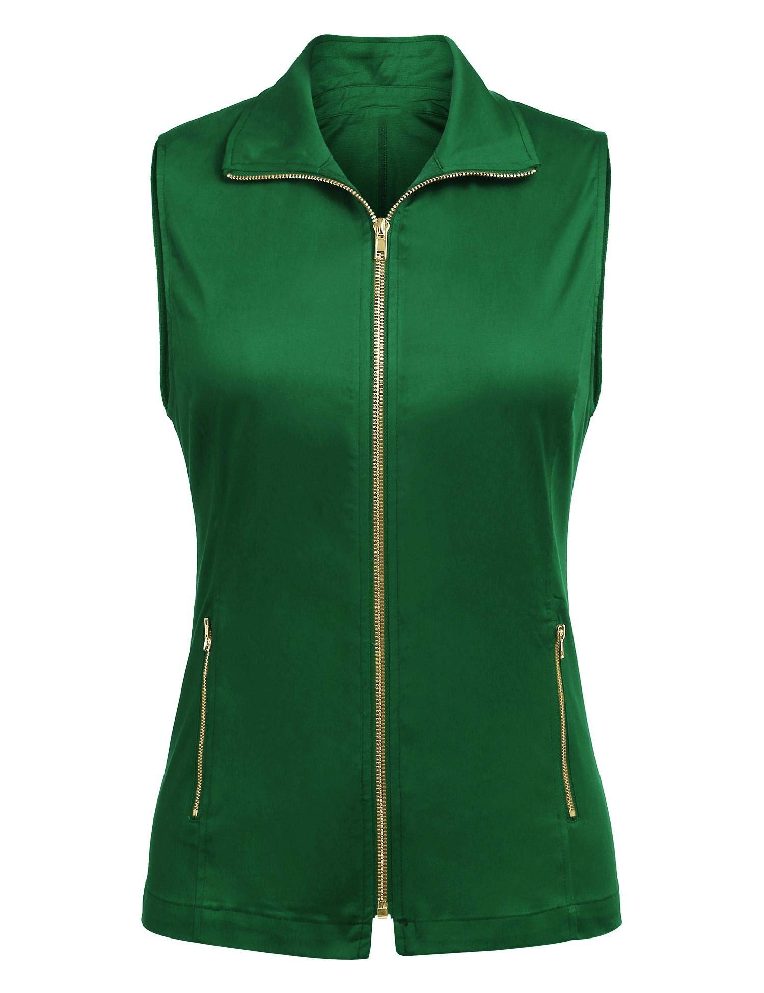 Dealwell Womens Lightweight Sleeveless Military Anorak Drawstring Jacket Vest (Onion Green Pale Green S) by Dealwell
