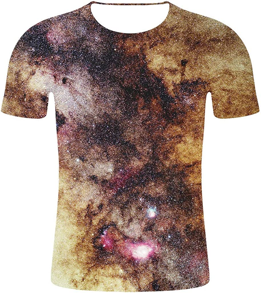 TUDUZ Camisetas Manga Corta Romantic Sky Nebula 3D Print Graphic Top Ropa Casual para Hombres y Mujeres
