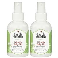 Earth Mama Calendula Baby Oil for Infant Massage, 4-Fluid Ounce (2-Pack)