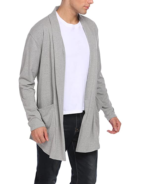 Diaper Men Shawl Collar Ruffle Longline Cardigan Long Sleeve Open Front Draped Knitwear Sweater Duster S-XXL at Amazon Mens Clothing store: