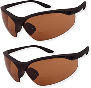 2 Pairs Bifocal Safety Driving Sunglasses with Reading Corner - Rubber Grip Arms (Diopter +2.50)