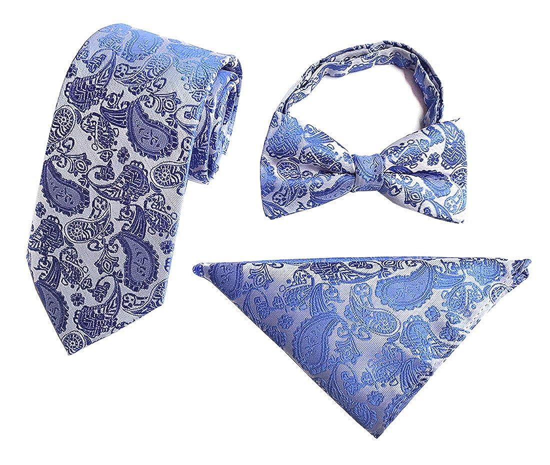 Herren Krawatte Set Krawatten Fliegen Einstecktücher Taschentuch Manschettenknöpfe Formal Geschäft Hochzeit Partei