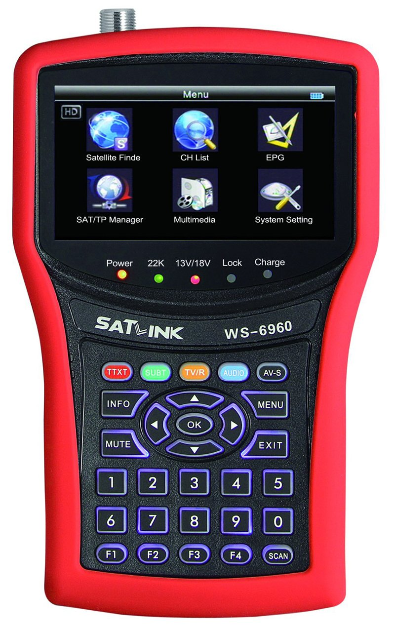 SATLINK WS-6960 DVB-S&DVB-S2 HD MPEG4 Satellite Finder Satellite Meter Constellation analyzer 4.3 Inch LCD Screen by SatLink