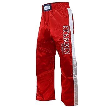 BAY EDEL STICK Kickboxhose, rot mit weißen Seitenstreifen