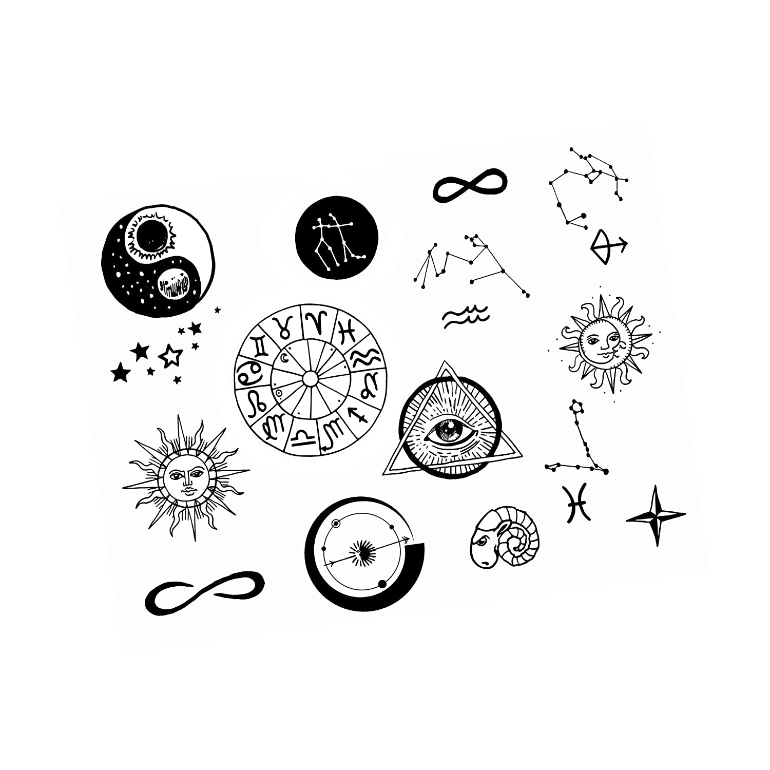 Neva Nude Zodiac Large Temporary Tattoo Pack   Body Decoration for Festivals, Raves, and More