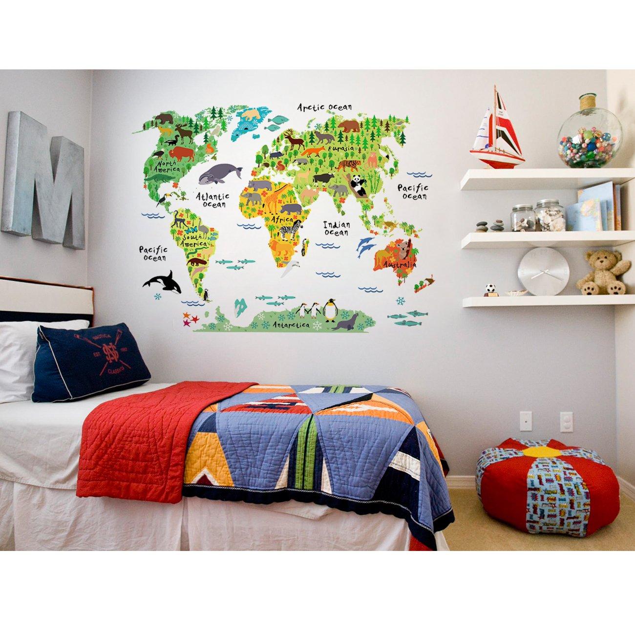 HUABEI Stickers Muraux Carte du Monde Enfant Animaux Autocollants Pour Enfants Decoration Murale Parfait Pour /Éducatifs et Home Decor