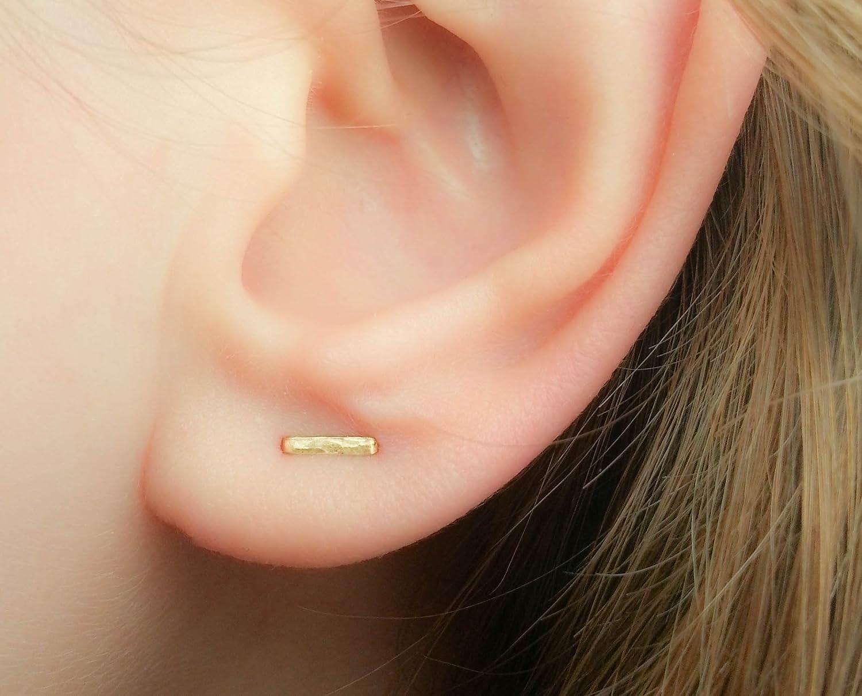 Double Piercing lobe Earring Two Hole Staple Studs Bar Multiple Ear