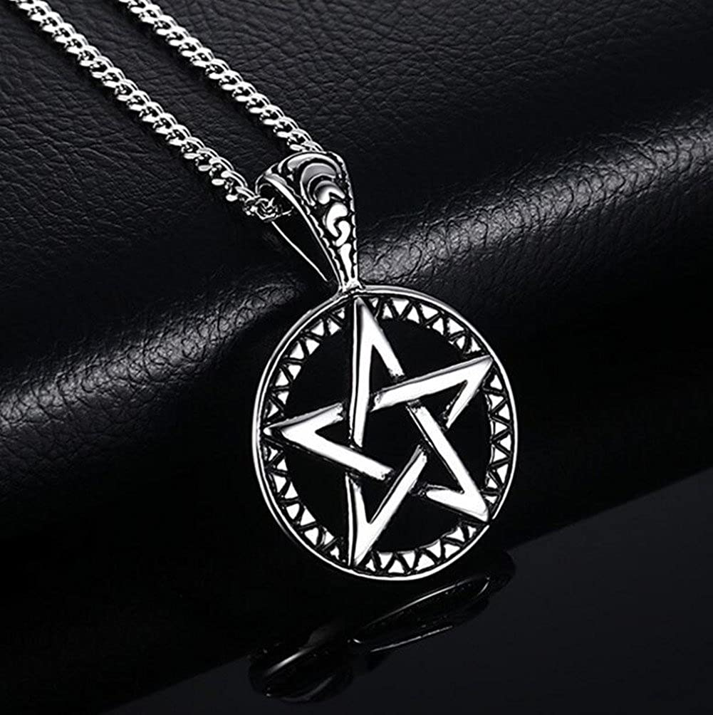 Vintage Style Pentacle Pentagram Stainless Steel Pendant Necklace for Men Powerful Pentacle Wicca Traditional Seal Solomon Pendant Necklace