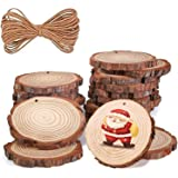 Natural Wood Slices for Crafts with Hole 42 Pcs 2.4-2.8 inches Natural Wood Unfinished Rounds with Pre-drilled Hole and 66 Fe